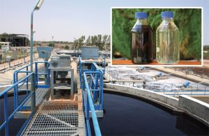Archroma's sustainable effluent treatment facility in Jamshoro, Pakistan, allows effluent treatment based on zero liquid discharge. Inset image shows water before (left) and after treatment.
