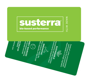 The new Susterra® brand hang tag educates consumers on three important facts about the bio-based 1,3-propanediol including that it is 100-percent renewably sourced, manufactured in a sustainable manner, and backed by the innovative industrial biotechnology of DuPont Tate & Lyle.