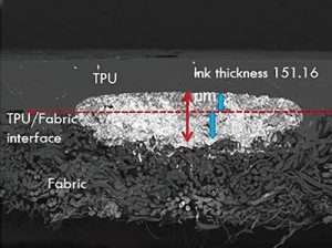 Figure 2: A textile featuring direct-write printed conductive ink illustrates the multi-layered textile, conductive ink and thermoplastic polyurethane layer
