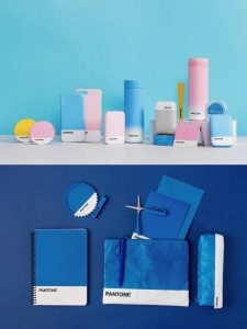Powder, blue products and dark blue stationery set of MINISO X PANTONE series.